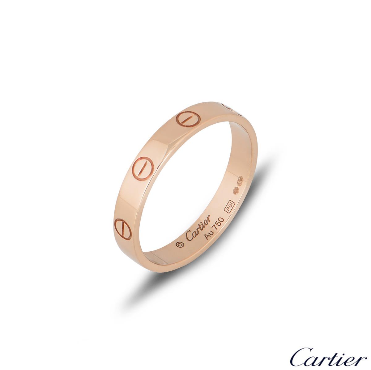 Cartier Rose Gold Plain Love Wedding Band Size 53 B4085200
